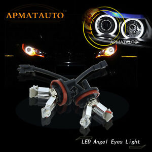 2x White 20w H8 Angel Eyes Halo Ring Cree Led Light Bulbs For Bmw E90 E92 E93 X5