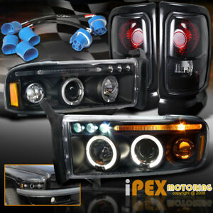 For 97 01 Dodge Ram 1500 Sport Halo Projector Led Black Headlights Tail Lights