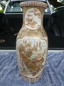 Large Highly Detailed Japanese Meiji Period Imperial Satsuma Vase