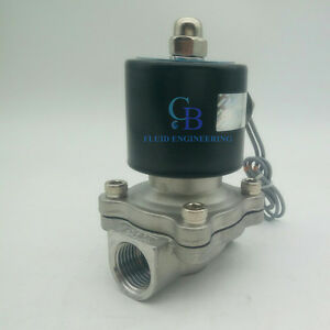 2 Bspp 110v Ac Stainless Steel 304 Electric Solenoid Valve Normally Closed