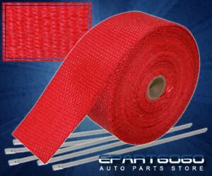30ft X 2 X 1 5mm Red Heat Wrap Thermo Shield Catback Pipe Header Exhaust Ties