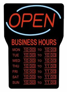 Royal Sovereign Led Open With Business Hours Sign English open rsb1342e