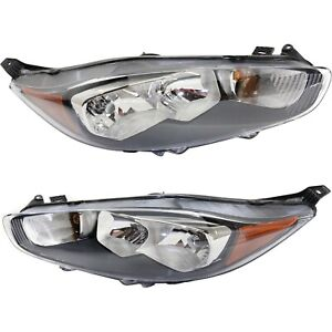 Headlight Set For 2014 2017 Ford Fiesta With Amber Turn Signal Light Capa 2pc