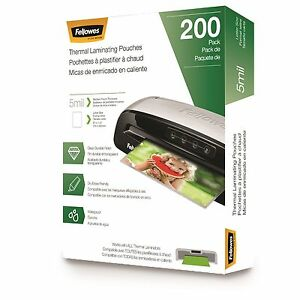 Fellowes Laminating Pouches Letter 5 Mil 200 Pack 5743601