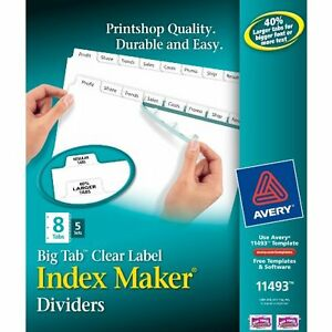 Avery Big Tab Index Maker Clear Label Divider 8 Tab s set 8 50 ave11493