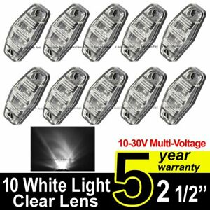 10x 12v 24v Led 2 5 White Surface Clearance Truck Trailer Side Marker Light