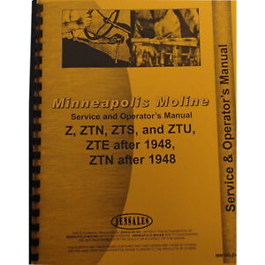 New Service Operators Manual Made For Minneapolis Moline Tractor Model Ztu