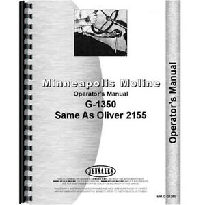New Minneapolis Moline G1350 Tractor Operators Manual