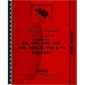 New Tractor Parts Manual For International Harvester Cub Cadet 1000 Tractor