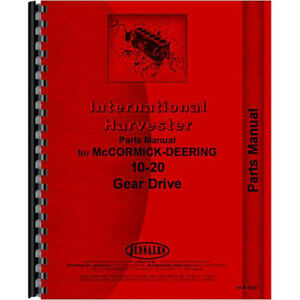 New Mccormick Deering 20 10 Tractor Parts Manual