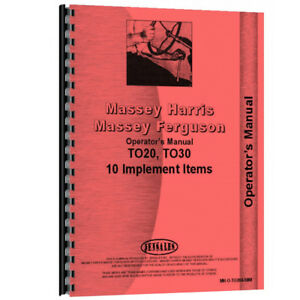 New Ferguson To30 Tractor Implement Operator Manual