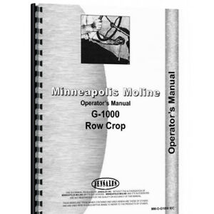 Operators Manual Made For Minneapolis Moline Tractor Model G1000