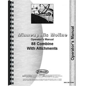 New Minneapolis Moline 88 Combine Operators Manual