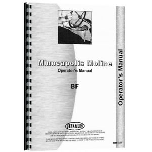 Operators Manual Made For Minneapolis Moline Tractor Model Bf