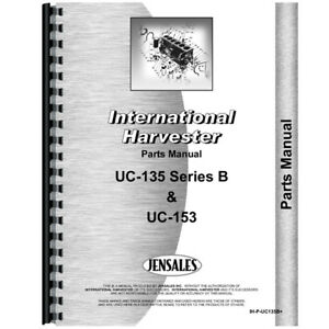 New International Harvester Uc153 Tractor Parts Manual