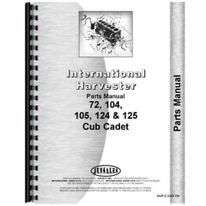 Tractor Parts Manual For International Harvester Cub Cadet 124 Tractor