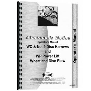 New Minneapolis Moline 9 Implement Operator Manual