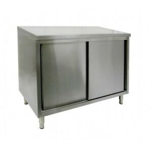 16 X 60 Stainless Steel Storage Dish Cabinet Sliding Doors