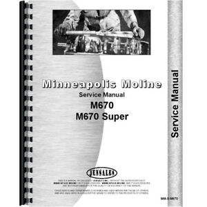 New Minneapolis Moline M670 Tractor Service Manual