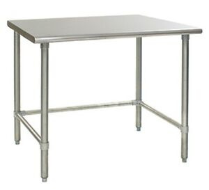 96 X 14 Stainless Steel Open Base Work Table With Cross Bar Prep Table