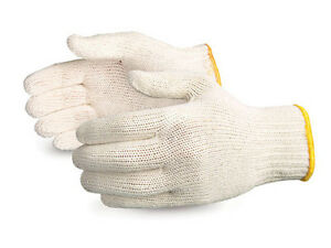 300 Pair White Poly Cotton String Knit Work Gloves made In Korea korwh300