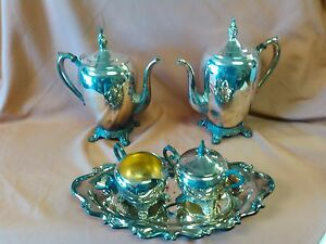 Vintage Fb Rogers 1083 Silver Plated Coffee And Tea Set 5 Pcs