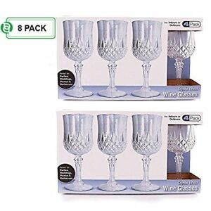 Hard Plastic Wine Glasses Disposable Crystal Clear Tumbler for Parties Pack of 8 $17.88