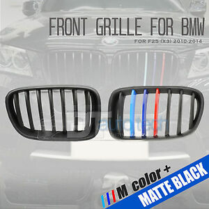 m Color Bmw 10 14 F25 X3 Matte Black Front Kidney Grille Grill 2pcs