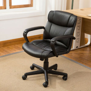 Ergonomic Pu Leather Mid back Executive Computer Desk Task Office Chair Black