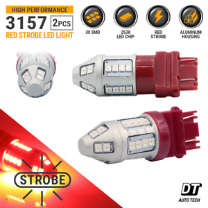 3157 Red Led Strobe Flash Tail Brake Stop Parking Bulbs Ford F 150 Ram 1500