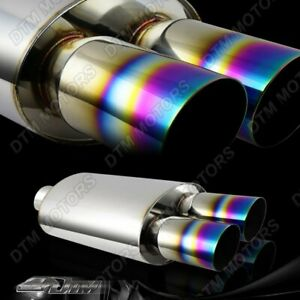 3 Dual Slant Rainbow Burnt Tip Stainless 3 Inlet Muffler Exhaust Universal