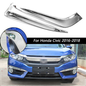 For Honda Civic 2016 2018 10th Chrome Front Fog Light Eyelid Strips Molding Trim