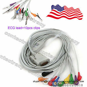 Us Stock Ecg Cable Gilding Snap Type For Ecg Machines 12 Lead 10piece Vet Clips