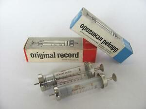 Two Vintage Medical Boxed Glass Brass Syringes