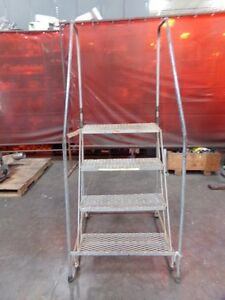 4 Step 38 Tall Rolling Ladder Mfg Unknown