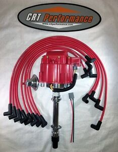 Chevy Hei Distributor 283 305 327 350 383 400 Red 8mm Spark Plug Wires Over