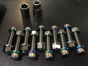 Titanium M7x32 3 Piece Split Rim Wheel Bolts And Nuts
