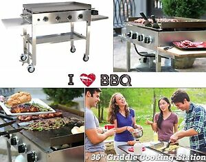 Gas Flat Top Grill Restaurant Commercial Cooker Stainless Steel 4 burner Griddle