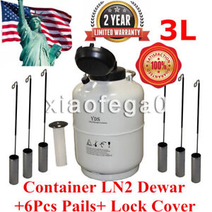 3l Liquid Nitrogen Tank Cryogenic Container Ln2 Dewar 6pcs Pails Lock Cover Usa