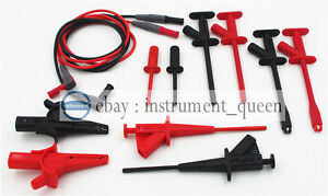 Test Lead Kit Silicone 4mm Banana Clip Hook Probe Pincer Replace Extech Tl831