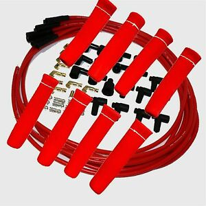 8 5 Mm Red Spark Plug Wires Hi temp Suppression Str Ends Hei W Red Protectors