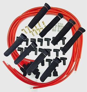 8 5 Mm Red Spark Plug Wires Hi temp Suppression 90 Ends Hei W Black Protectors