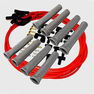 8 5 Mm Red Spark Plug Wires Hi temp Suppression 135 Ends Hei W Gray Protectors