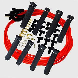 8 5 Mm Red Spark Plug Wires Hi Temp Suppression 135 Ends Hei W Blk Protectors