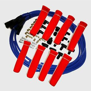 8 5 Mm Blue Spark Plug Wires Hi Temp Suppression Str Ends Hei W Red Protectors