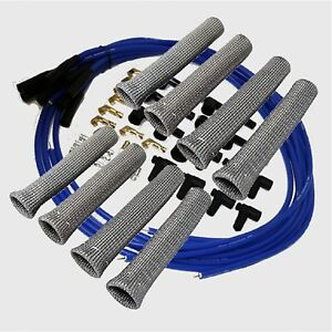 8 5 Mm Blue Spark Plug Wires Hi temp Suppression Str Ends Hei W Gray Protectors