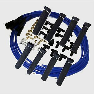 8 5 Mm Blue Spark Plug Wires Hi Temp Suppression Str Ends Hei W Blk Protectors