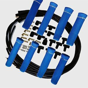 8 5 Mm Blk Spark Plug Wires Hi Temp Suppression Str Ends Hei W Blue Protectors