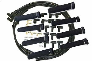 8 5 Mm Blk Spark Plug Wires Hi temp Suppression 90 Ends Hei W Black Protectors