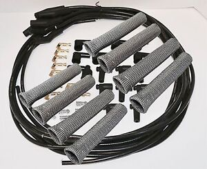 8 5 Mm Blk Spark Plug Wires Hi temp Suppression 135 Ends Hei W Gry Protectors